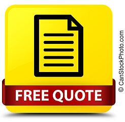 Free quote (page icon) yellow square button red ribbon in middle