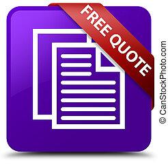 Free quote purple square button red ribbon in corner