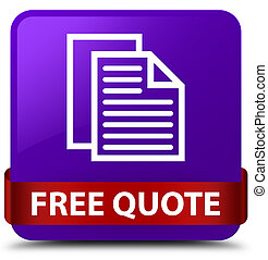 Free quote purple square button red ribbon in middle