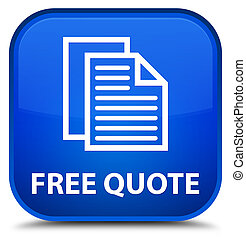 Free quote special blue square button