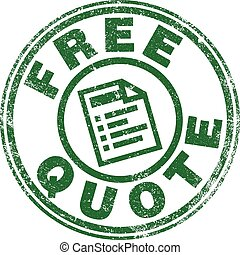 """Vector illustration of """"Free Quote"""" stamp in green ink"""