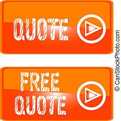 free quote web button orange - free quote orange icon button...