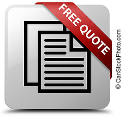 Free quote white square button red ribbon in corner