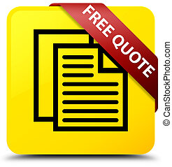 Free quote yellow square button red ribbon in corner