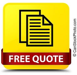 Free quote yellow square button red ribbon in middle