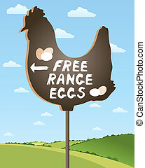 an illustration of a home made sign advertising free range eggs in beautiful countryside scenery under a summer sky