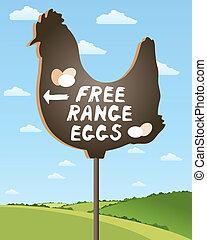 free range egg sign - an illustration of a home made sign...