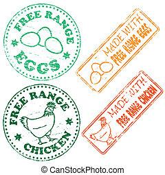 Free Range Stamp - Free range chicken and eggs rubber stamp...