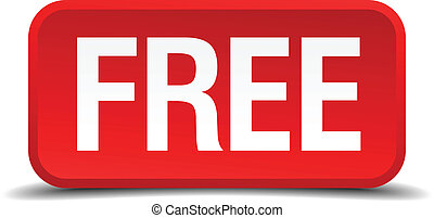 Free red 3d square button isolated on white background