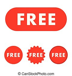 Free red button. free icon. free sign.