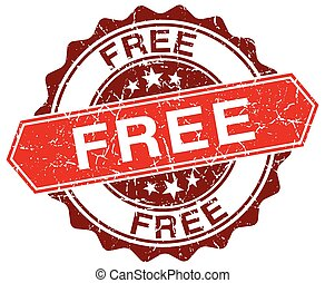free red round grunge stamp on white