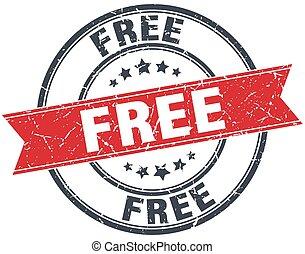 free red round grunge vintage ribbon stamp