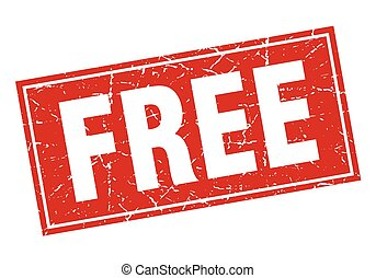 free red square grunge stamp on white