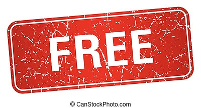 free red square grunge textured isolated stamp