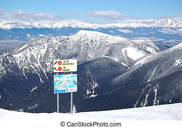 Free ride area on Chopok in Jasna ski resort with map and signs, Low Tatras, Slovakia