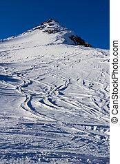 free-ride, esquí, huellas, en, el, glaciar, en, alpes