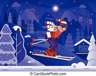 Free Ride Skiing Man on Winter Mountains