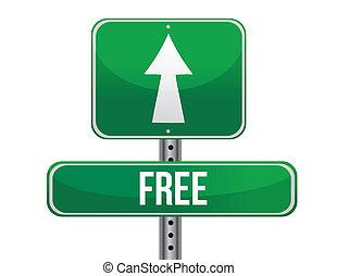 free road sign illustration design