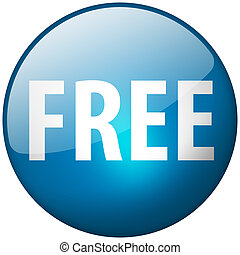 Free Round Blue Glass Shiny Button