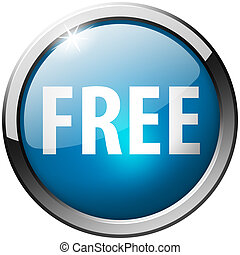 Free Round Blue Metal Shiny Button