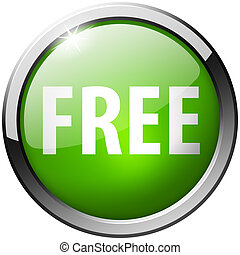 Free Round Green Metal Shiny Button