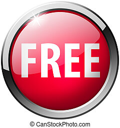 Free Round Red Metal Shiny Button