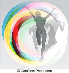 Free runners sport concept illustration - Three translucent...