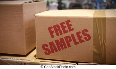 Free samples cartons at logistics center - Goods packed in...