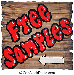 Free Samples write with red paint on the wood wall