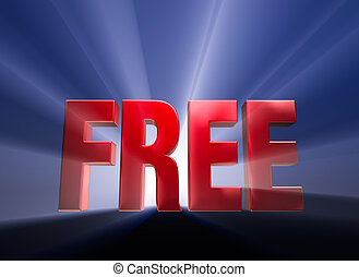 "Free - Shiny red ""FREE"" on dark blue background brilliantly..."