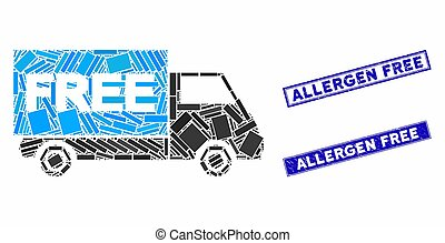 Free Shipment Van Mosaic and Scratched Rectangle Allergen Free Seals