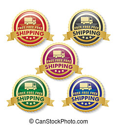 Free Shipping 5 Golden Buttons - 5 buttons on the white...