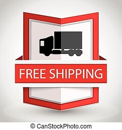 Free shipping badge with on white background.