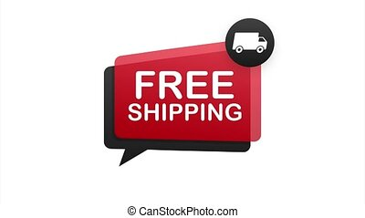 Free shipping. Badge with truck. stock illustrtaion
