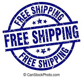 free shipping blue round grunge stamp