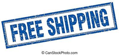 free shipping blue square grunge stamp on white