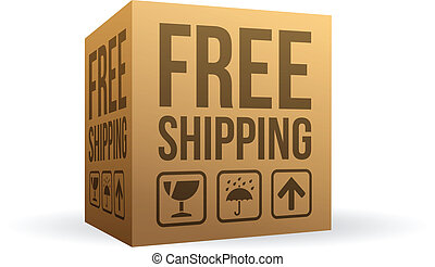 Free shipping box on white background.