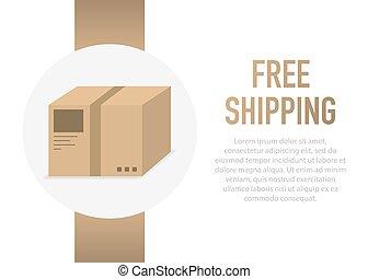 Free Shipping Box. Vector illustration.