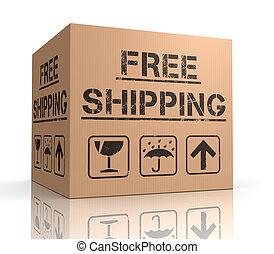 free shipping cardboard box 3d illustration