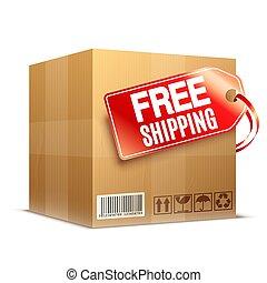 Big cardboard box with free shipping label