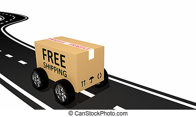 Free shipping cardboard on the road
