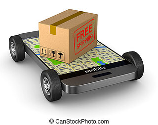 free shipping cargo box and phone with wheel on white background. Isolated 3D illustration