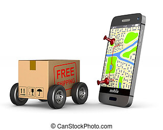 free shipping cargo box with wheel and phone on white background. Isolated 3D illustration