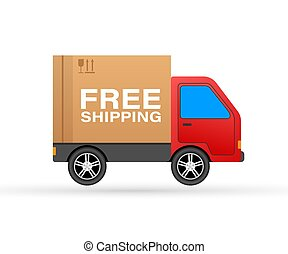 Free shipping concept. Delivery truck transporting a cardboard package. Vector stock illustration.