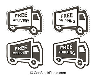 Free shipping, delivery icon set. vector illustration