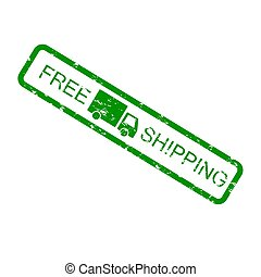 Free shipping green rubber stamp isolated on white