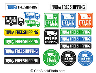 A set of free shipping icons, seals and buttons with different shapes and colors. Includes a truck icon and mainly black, blue and green color variations.