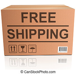 free shipping package delivery from online web shop concept...
