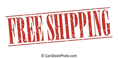 free shipping red grunge vintage stamp isolated on white background