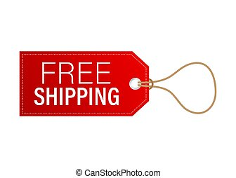 Free shipping red leather label or price tag. Vector stock illustration.
